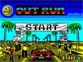 Title screen of OutRun on the Sinclair ZX Spectrum.