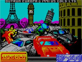 Title screen of OutRun Europa on the Sinclair ZX Spectrum.