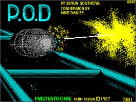 Title screen of P.O.D.: Proof of Destruction on the Sinclair ZX Spectrum.