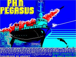 Title screen of PHM Pegasus on the Sinclair ZX Spectrum.