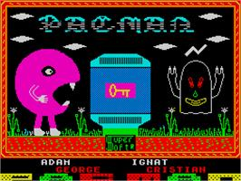 Title screen of Pac-Man on the Sinclair ZX Spectrum.