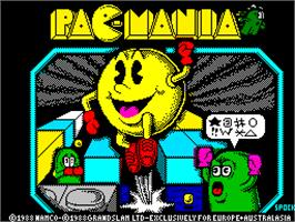 Title screen of Pac-Mania on the Sinclair ZX Spectrum.