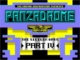 Title screen of Panzadrome on the Sinclair ZX Spectrum.