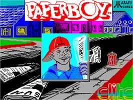 Title screen of Paperboy on the Sinclair ZX Spectrum.