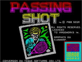 Title screen of Passing Shot on the Sinclair ZX Spectrum.