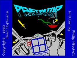 Title screen of Penetrator on the Sinclair ZX Spectrum.
