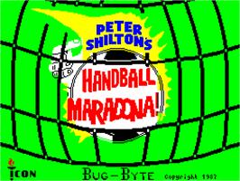 Title screen of Peter Shilton's Handball Maradona! on the Sinclair ZX Spectrum.