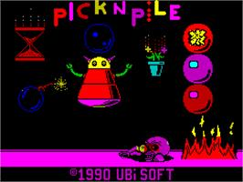 Title screen of Pick 'n Pile on the Sinclair ZX Spectrum.
