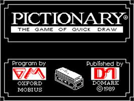 Title screen of Pictionary on the Sinclair ZX Spectrum.
