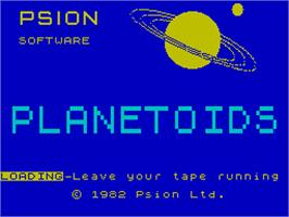 Title screen of Planetoids on the Sinclair ZX Spectrum.