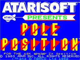Title screen of Pole Position on the Sinclair ZX Spectrum.