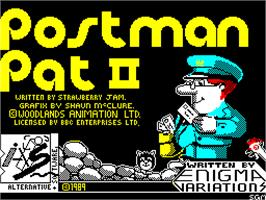 Title screen of Postman Pat 2 on the Sinclair ZX Spectrum.