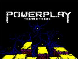 Title screen of Powerplay: The Game of the Gods on the Sinclair ZX Spectrum.