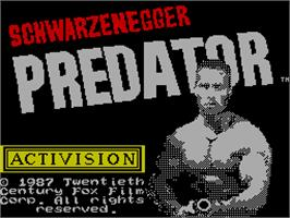 Title screen of Predator on the Sinclair ZX Spectrum.