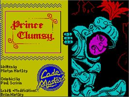 Title screen of Prince Clumsy on the Sinclair ZX Spectrum.