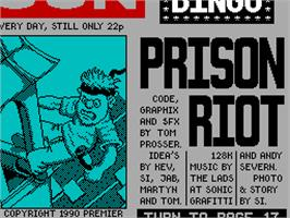 Title screen of Prison Riot on the Sinclair ZX Spectrum.