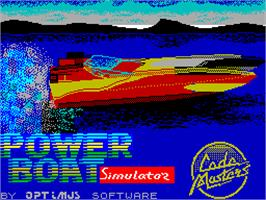 Title screen of Pro Powerboat Simulator on the Sinclair ZX Spectrum.