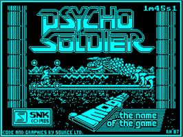 Title screen of Psycho Soldier on the Sinclair ZX Spectrum.