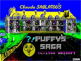 Title screen of Puffy's Saga on the Sinclair ZX Spectrum.
