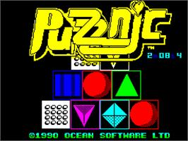Title screen of Puzznic on the Sinclair ZX Spectrum.