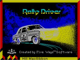 Title screen of Rally Driver on the Sinclair ZX Spectrum.