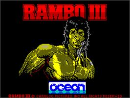 Title screen of Rambo III on the Sinclair ZX Spectrum.