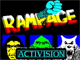 Title screen of Rampage on the Sinclair ZX Spectrum.