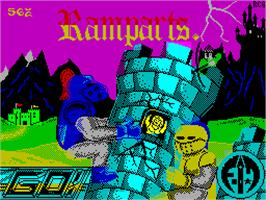 Title screen of Ramparts on the Sinclair ZX Spectrum.