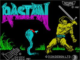 Title screen of Rastan on the Sinclair ZX Spectrum.
