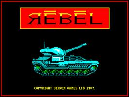 Title screen of Rebel on the Sinclair ZX Spectrum.