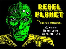 Title screen of Rebel Planet on the Sinclair ZX Spectrum.