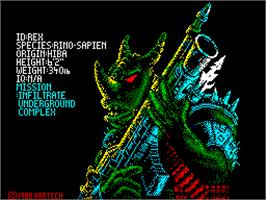 Title screen of Rex on the Sinclair ZX Spectrum.