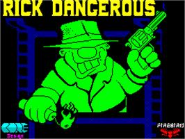Title screen of Rick Dangerous on the Sinclair ZX Spectrum.