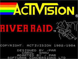 Title screen of River Raid on the Sinclair ZX Spectrum.