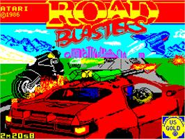 Title screen of RoadBlasters on the Sinclair ZX Spectrum.