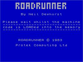Title screen of Road Runner on the Sinclair ZX Spectrum.