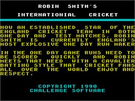 Title screen of Robin Smith's International Cricket on the Sinclair ZX Spectrum.