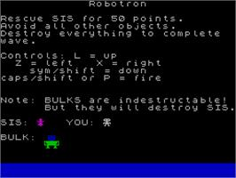 Title screen of Robotron: 2084 on the Sinclair ZX Spectrum.
