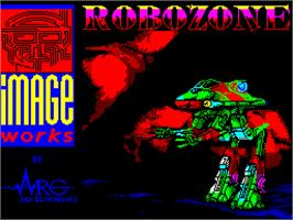 Title screen of Robozone on the Sinclair ZX Spectrum.