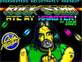 Title screen of Rock Star Ate My Hamster on the Sinclair ZX Spectrum.