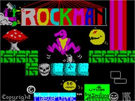 Title screen of Rockman on the Sinclair ZX Spectrum.