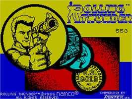 Title screen of Rolling Thunder on the Sinclair ZX Spectrum.