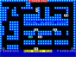 Title screen of Run Baby Run on the Sinclair ZX Spectrum.
