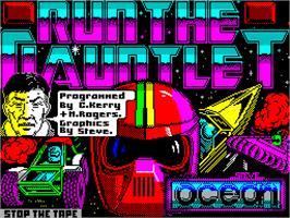 Title screen of Run the Gauntlet on the Sinclair ZX Spectrum.
