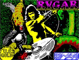 Title screen of Rygar on the Sinclair ZX Spectrum.