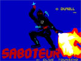 Title screen of Saboteur on the Sinclair ZX Spectrum.