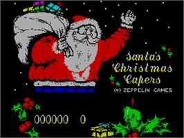 Title screen of Santa's Xmas Caper on the Sinclair ZX Spectrum.