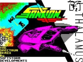 Title screen of Sanxion on the Sinclair ZX Spectrum.