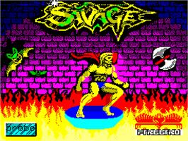 Title screen of Savage on the Sinclair ZX Spectrum.