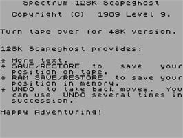 Title screen of Scapeghost on the Sinclair ZX Spectrum.